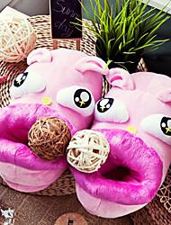 Cartoon Pink Rabbit Wool Women's Slide Slipper