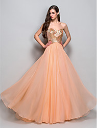 A-Line Princess Strapless Sweetheart Floor Length Chiffon Prom Dress with Draping by TS Couture®