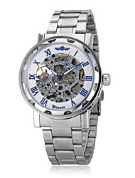 WINNER® Men's Auto-Mechanical Fashion Hollow Case Silver Skeleton Steel Band Wrist Watch (Assorted Colors) Cool Watch Unique Watch