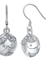 Special Silver Plated Silver With Cubic Zirconia Face Drop Women's Earring
