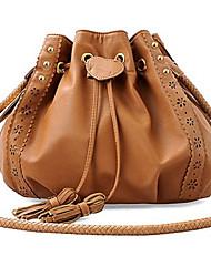 Erlen Women's Korean Style Woven Bucket One Shoulder/Crossbody Bag(Brown)