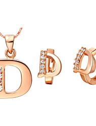"""Argent de plaqué argent élégant avec Zircon """"D"""" Jewelry Set de femmes (y compris le collier, boucles d'oreilles) (or, argent)"""