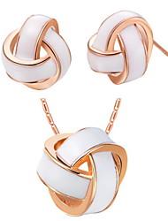 Оригинал с серебряным покрытием Silver White Узел Shaped Женская комплект ювелирных изделий (в том числе ожерелья, серьги) (золото, серебро)
