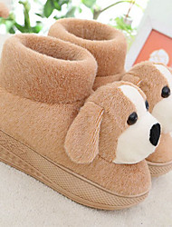 Lovely Cartoon Coffee Dog Wool Women's Slide Slipper