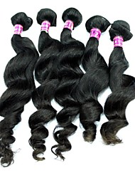 Brazilian Virgin Hair Loose Wave Natural Black Color 24Inch