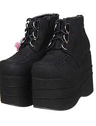 Black Scrub Lace-up Classic Lolita Microfiber PU Leather 12cm Platform High-heeled Shoes