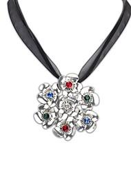Estilo Fahion Europea (forma de la flor) plateado aleación Señora collar de la declaración (Bronce y Plata en color) (1 pc)