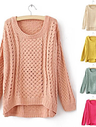 Women's Hollow Round Neck Knitted Irregular Pullover Jumper Sweater