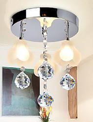 Crystal Flush Mount, 3 Light, Minimalist Metal Glass Electroplating