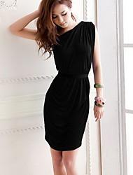 Moda Mujer CoolCube un hombro cintura alta envoltura del plisado Vestido ajustado con cinturón