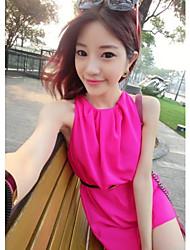 Women's Solid Orange/Red/White Dress , Cute Crew Neck Sleeveless