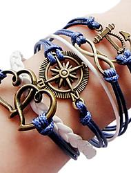 Europäische Bronze Anchor Rudder 20cm Frauen Royal Blue Leder Wickelarmband (1 PC)
