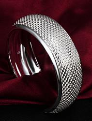 Qualidade elegante alta Prata Prata Fina Veias Cuffed Pulseiras