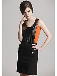 Zoely Women's Sweet Strap Spell Leather Pattern Sleeveless Vest 101123M015