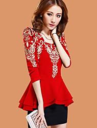 ShangBo Moda malha manga comprida Bodycon vestido (vermelho)
