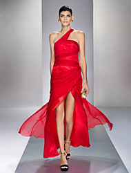 Prom / Formal Evening / Military Ball Dress - Sexy / Open Back Plus Size / Petite Sheath / Column One Shoulder Ankle-lengthChiffon /