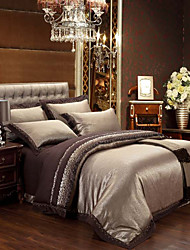 HanTing 4Pcs Delicate Satin Cover Set:Duvet Cover,Coverlet,Pillowcase-11