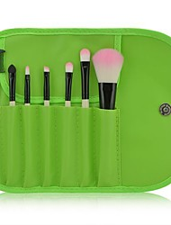Portable 7pcs Cosmetic Brush Set(Green)