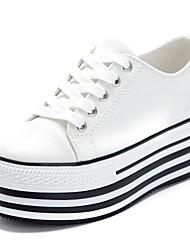 Zapatos de mujer - Plataforma - Plataforma / Creepers - Sneakers a la Moda - Casual - Tela - Negro / Blanco