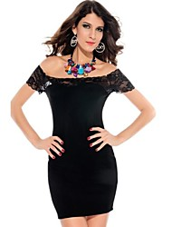 Women's Solid Black Dress , Sexy/Bodycon Off Shoulder Short Sleeve Lace
