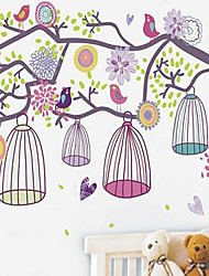 1PCS Colorful Morning Birdcage Wall Sticker