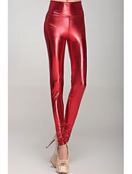 Donna Red Metallic vita alta Leggings