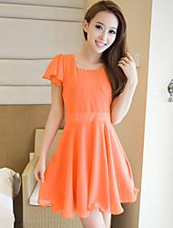 WXNH Schlank Kurzarm-Kleid (Orange)