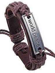 Z&X®  World Peace Logo 24cm Men's Leather Wrap Bracelet(1 Pc)