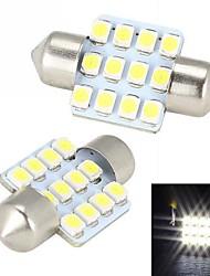 Merdia гирлянда 31mm 12x3528SMD светодиодных Белый Свет для автомобилей Руководящего лампочки - (2 PCS / 12)