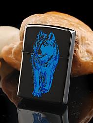 cadeau de jour de motif de loup gravé huile noire de père personnalisé léger