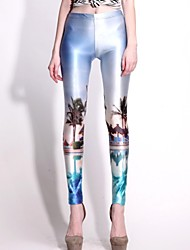 Elonbo Island landscape Style Digital Painting High Women Free Size Waisted Stretchy Tight Leggings
