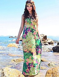 TS-Bohemia V cuello halter Imprimir Beach Dress Maxi (Random Prints)