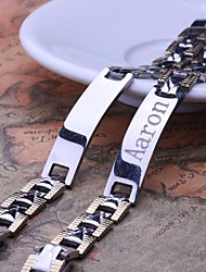 Personalized Gift Men's Jewelry Stainless Steel  Engraved ID Bracelets 1.1cm Width