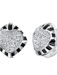 Special Silver Plated With Cubic Zirconia And Stoving Varnish Rhombus Shape Women's Earring