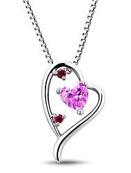 Classic Sterling Silver platinata con Creato Ruby e la collana Pink Women Sapphire
