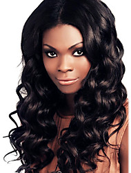 18Inch Brazilian Remy Hair Wavy Middle Part Lace Front Wig with Baby Hair