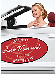 Personalized Embracing Hearts Wedding Window/Car Cling (More Colors)