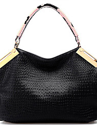 Lady Fashion Casual Crocodile Veins PU Leather Tote/Crossbody Bag(Dark Blue)
