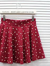 Impresión de la Mujer Bowknot una línea falda