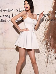 Women's Sexy Dress,Solid Above Knee Sleeveless Red / White / Black Spring / Summer