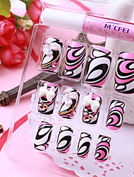 12PCS Bow Abstract Pattern Acrylic UV Gel False Nail Art Tips With Glue