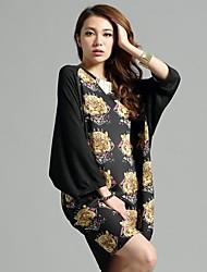 модная одежда жира мм тигр цветной печати шифон оптовая (случайным образом)