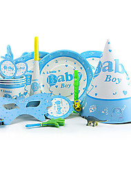 """""""Lovely Boy"""" Party Supplies for Baby Shower - Set of 84 Pieces"""