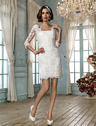 Lanting Bride® Sheath / Column Petite Wedding Dress - Chic & Modern / Reception Little White Dresses Short / Mini Square Lace with