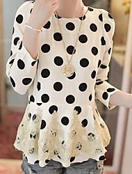 Women's Polka Dot Black/White Blouse , Round Neck Long Sleeve Lace