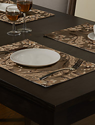 Set of 4 Spun Gold Jacquard Floral Light Coffee Polyester Placemats