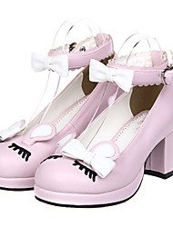 Lolita Shoes Classic/Traditional Lolita Princess High Heel Shoes Bowknot 6.5 CM Pink Black Yellow For PU Leather/Polyurethane Leather