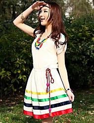 Color del vestido de primavera causales Rayas de contraste de la mujer con el collar