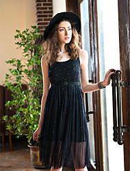 Balançoire Robe Femme SortieCouleur Pleine Col Arrondi Sans Manches Beige Noir Polyester Spandex Printemps Eté