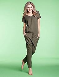 Весной и летом Мода Досуг Дамы с короткими рукавами Брюки Сиамские Главная Обстановка Wear